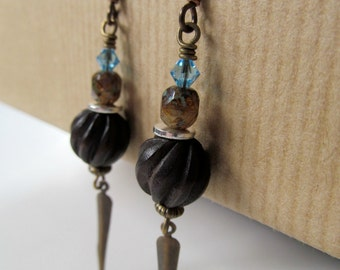 Sky Blue and Wood Beaded Niobium Earrings - Nature