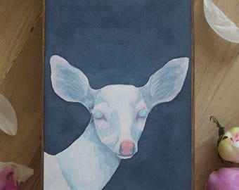 "Original Watercolor ""Albinism"" - Albino Fawn Watercolor Painting"