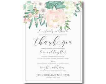 Vintage Floral Wedding Thank You Card, Vintage Floral, Thank You Note, Floral Wedding, Vintage Wedding, Wedding Card, Thank You Card #CL180