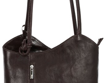LiaTalia Womens Soft Lush Italian Leather Piping Detail Shoulder Backpack Bag - Libby (Coffee)