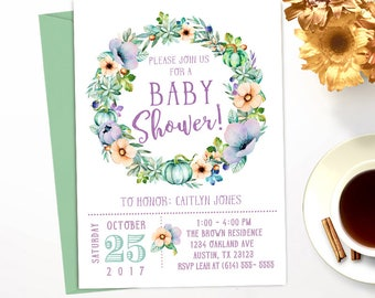 Autumn Succulents and Pumpkins Any Color Baby Shower Invitation // Custom Printable // #3892017BS