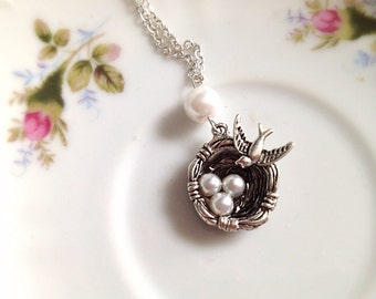 Bird Nest Charm Necklace. Bird Jewelry. Mother's Day Jewelry. Three Children. White Pearl. Vintage Style. Antique Silver. Black. Romantic.