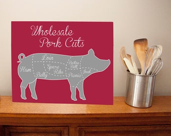 LARGE Pork Wholesale Meat Cuts Metal Sign Wall Art - butcher cuts, kitchen decor, custom colors, pig