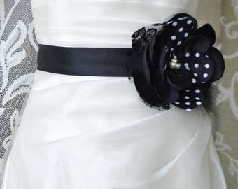 Bridal belt, Black Bridal sash, Floral Bridal Belt, sash belt, Polka dot bridal belt, Flower wedding sash, Flower wedding dress belt