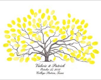 Personalized Thumbprint Tree Wedding Guest Book Texas A&M Century Oak Aggie Wedding