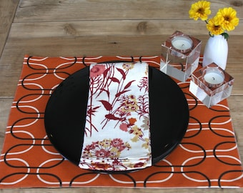 Harvest Placemats - Orange with Black and White Ovals - Set of 4