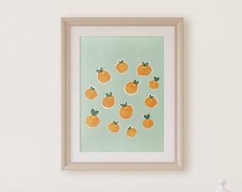 11x14 Clementine Nursery Print-Mint Background- Citrus Art- Orange gouache painting- Kitchen Fruit Print-Kitchen wall art-