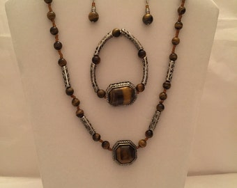 Semi Precious Tiger Eye Necklace with Matching Earrings and Bracelet Jewelry Set