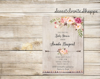 Watercolor Baby Shower Invitation, Boho Floral Baby SHower Invitation, Floral Peony Invitation, Tribal Invitation, Floral Baby Shower Invite