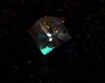 Large infused Resin Diamond pendant, flowers, glow in dark, pastels, blues, aqua, semi choker, bohemian, hippie