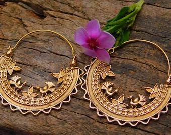 Big Hoop Earrings, unique design, Tribal Brass Earrings, Brass Earrings, Boho Earrings. Gypsy Earrings. Ethnic Earrings.