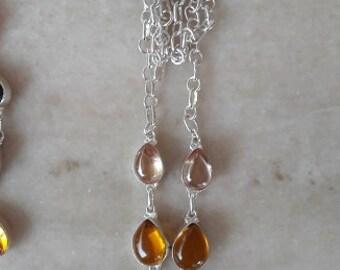 necklace in german silver with imitation gemstones modern l@@k