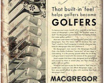 "Macgregor Golf Clubs Vintage Ad 10"" x 7"" Reproduction Metal Sign X99"