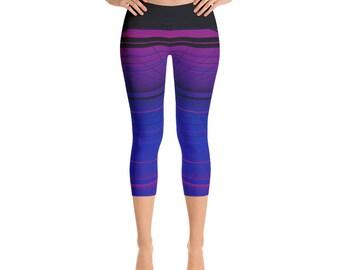Purple Yoga Leggings | Ombre Workout Leggings | Blue Striped Leggings Women | Capri Yoga Pants | Soft Stretch Leggings | Leggings for Runner