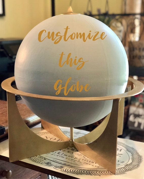 Large Gray Painted 12 Inch Globe with Gold Metal Stand  / Choose Custom Calligraphy Wording / Calligraphy Globe / Wedding Guest Book Globe