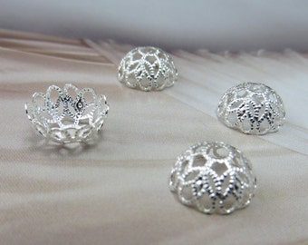 12mm Bead Caps Silver Bead caps Silver Filigree Cap Jewelry supplies Lace Beads Craft DIY Jewelry make it yourself scrapbook earrings gift