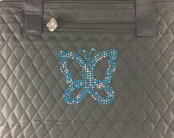 Large black quilted tote bag