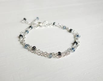Chain bracelets set double chain bracelets blue gray beads minimalist bracelets set layering bracelets for women
