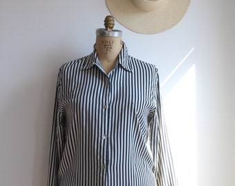 gentlewoman blouse / striped silk button-up / favorite minimal vintage top / s - m - l
