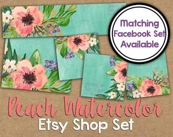 Peach Watercolor Etsy Shop Set - Watercolor Shop Banner - Watercolor Flowers - Boho Etsy Banner - Floral Watercolor Etsy Banner Set