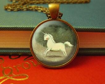 Unicorn Necklace, Unicorn Pendant, Unicorn Jewelry, Unicorn Animal Necklace, Animal Art, Animal Jewelry, Kids Jewelry Children  - Baby Blue