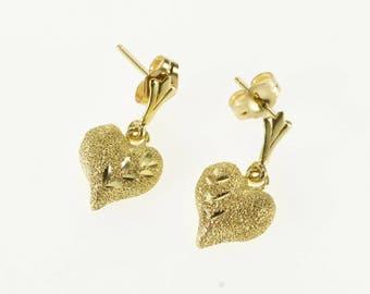 14k Textured Diamond Cut High Relief Heart Dangle Earrings Gold