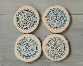Wooden coasters, Father's Day gift, Boho chic, Gift for men, Rustic decor, Wood coasters, Gift for him, Cottage chic, Block printed by hand