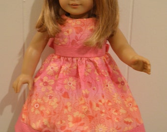 "18"" Doll Clothing: Easter Dress- Pink/Orange/Yellow Flower Print"