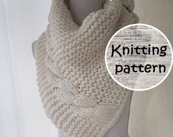 Knitting pattern cable shawl // knit wrap // knitted shawl // cable knit blanket