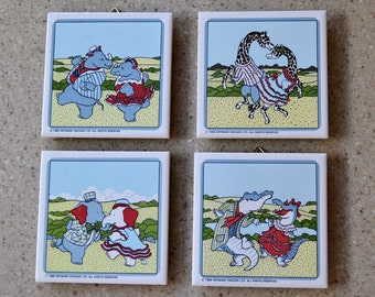 80's Artmark Tile Trivets , Coasters , Wall Plaques Dancing Elephants Giraffes Rhinos Alligators Set of 4