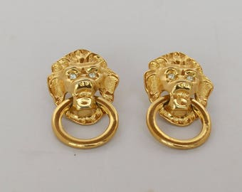Classic Kenneth J Lane for Avon Lion Doorknocker Earrings Pierce Style