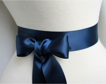"""70mm (3"""")   NAVY   BLUE    Double Satin Ribbon   2 Metres Ideal for Sashes or Belts, Weddings"""