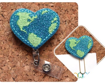 GLITTER Earth Retractable Badge Reel, Planner Paper Clip, Magnet, Lanyard, Badge Clip, Pin, Bookmark, Teacher Gift, Earth Day 1745
