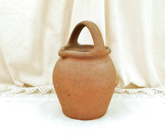Antique French Rustic Primitive Ceramic Terracotta Top Handled Water Pitcher, Retro Country Pottery Vessel / Jug from Normandy France