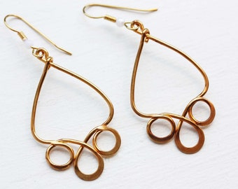 Gold Drop Earrings, Dangly Gold Earrings, Teardrop Earrings, Gold Wire Earrings, Wire Drop Earrings, Gold Dangle Earring, Geometric Earrings