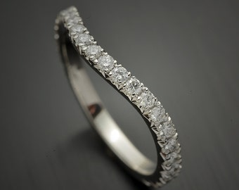 Platinum wedding Band Curved with Micro Pave diamond French Cut Pave