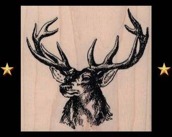 DEER HEAD Rubber Stamp, Deer Stamp, Deer Rubber Stamp Buck Stag Head Antlers Male Deer Rustic Sketch Illustration Deer Trophy Forest Animal
