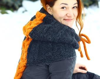 KNITTING PATTERN Cowl - knitting pattern ( Child, Adult sizes) Knitting black cowl - knitting cowl pattern