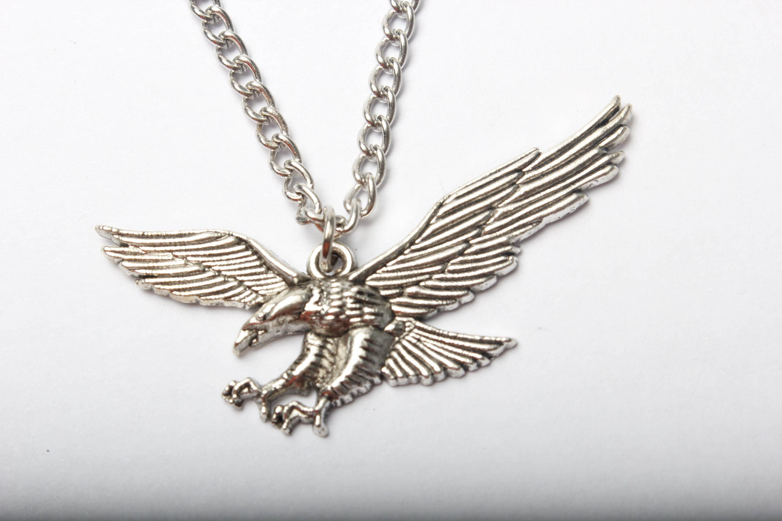 silver steel eagle pendant gold chain stainless uk jewellery jewelry antique co necklace amazon men s dp