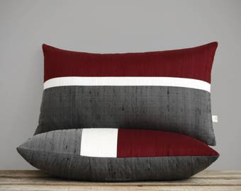 Silk Horizon Line Pillow Cover in Merlot, Cream + Charcoal Gray (12x20 or 20x20) by JillianReneDecor - Fall Home Decor, Burgundy, Crimson