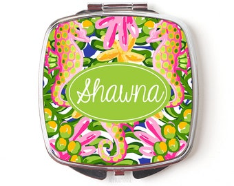 Tropical Personalized Compact Mirror - Custom Cosmetic Mirror for Purse or Pocket