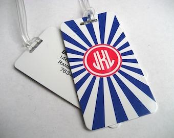 Luggage Tag Pair - Navy Blue and White Chevron Custom Monogram Luggage Tag - Personalized Luggage Tag - Travel Tag - Your Monogram