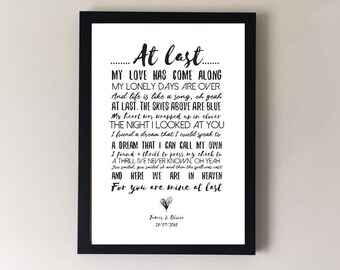 At last, song lyrics print, wedding song, first dance, anniversary gifts, wedding gift gift for husband gift for wife