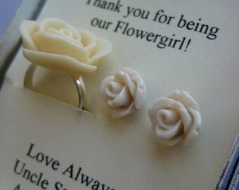 SPRING SALE Flowergirl gifts, small sized rose earring, matching child ring, personalized notecards, free jewelry box.