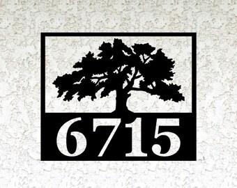 Oak Tree Address sign - Personalized Address Metal Sign - Custom Address