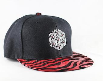 The Circle of Life Sacred Geometry Red Zebra Snapback Hat