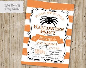 Halloween Party Invitation. Halloween Birthday. Cat, Halloween, Spider, Fall Birthday, Halloween Birthday Party Invitation, Halloween