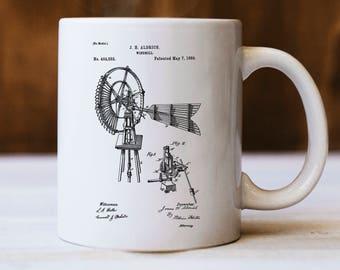 Windmill Mug, Windmill Patent Mug, Farmer Mug, Gift for Farmer, Farm Beverage Mug, Farmhouse Decor, Barn Mug, Vintage Windmill, Coffee Lover