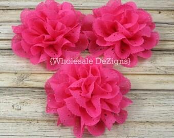 Hot Pink Chiffon Eyelet Flower - 3.5 inches DIY Flowers, Hair Accessories, DIY Headband Supplies - 3 Flowers