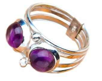 925 Sterling Silver Purple Amethyst Cabochon Gemstone Ring Size 7